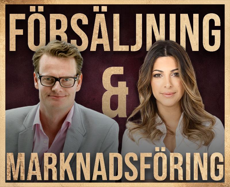 sveriges bästa säljare och marknadsförare i loungepoddens avsnitt om försäljning och marknadsföring såsom månadens säljare Adam Farhoumand som är stjärnmäklare och Rickard Öste som är Oatlys grundare och Tara Derakshan som är grundare av Spotify för parfymer Sniph